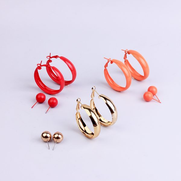 31697 8d454b 600x600 - 2 Pair Lot Painted Metal Trendy Hoop Earrings Pearl Gold Hoops Earring Set Green Fashion Jewelry Colorful Red Earrings For Women