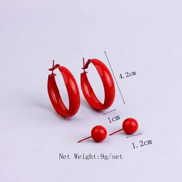 31697 d80d2e 600x600 - 2 Pair Lot Painted Metal Trendy Hoop Earrings Pearl Gold Hoops Earring Set Green Fashion Jewelry Colorful Red Earrings For Women