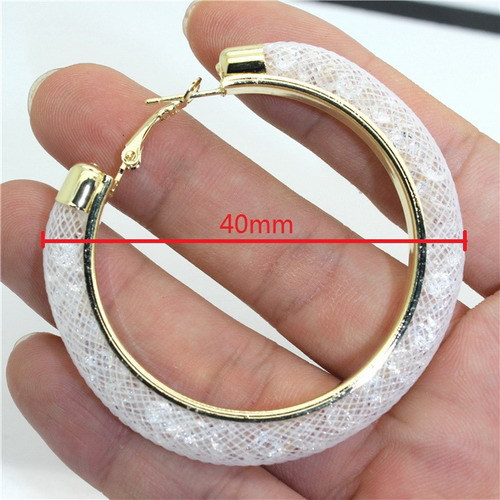 31743 277adb - 40mm Big Gold Hoop Earrings Red Crystal Mesh Women Earing Gold Color Round Hoops Jewelry