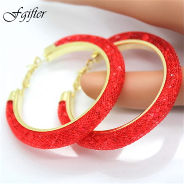 31743 beebaa 600x600 - 40mm Big Gold Hoop Earrings Red Crystal Mesh Women Earing Gold Color Round Hoops Jewelry