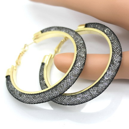 31743 c40a2d - 40mm Big Gold Hoop Earrings Red Crystal Mesh Women Earing Gold Color Round Hoops Jewelry