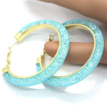 31743 db728f - 40mm Big Gold Hoop Earrings Red Crystal Mesh Women Earing Gold Color Round Hoops Jewelry