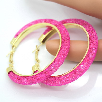 31743 e620f9 - 40mm Big Gold Hoop Earrings Red Crystal Mesh Women Earing Gold Color Round Hoops Jewelry