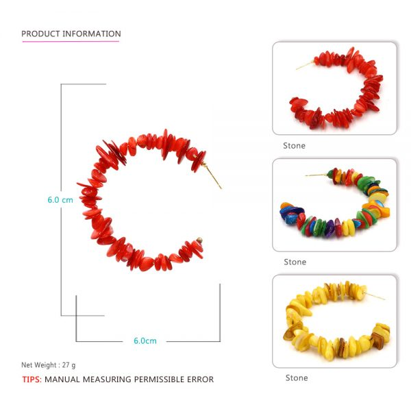 31762 58681b 600x600 - Colorful Red Stone Big Round Circle Hoop Earrings Beach Party