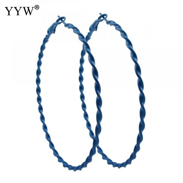 31773 5f5edd 600x600 - 1pair Big Circle Hoop Earrings Basketball Brincos Iron Loop Earrings for Women Jewelry Blue Green Purple Red Color Earring