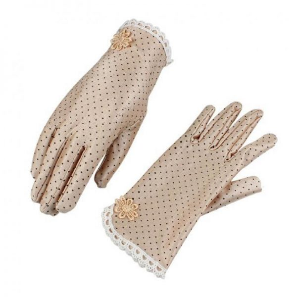 61101 0brlvb 600x600 - Women's Fashion Cotton Summer Gloves Lace Patchwork Gloves Anti-skid Sun Protection Driving Short Thin Gloves Dot Women Gloves
