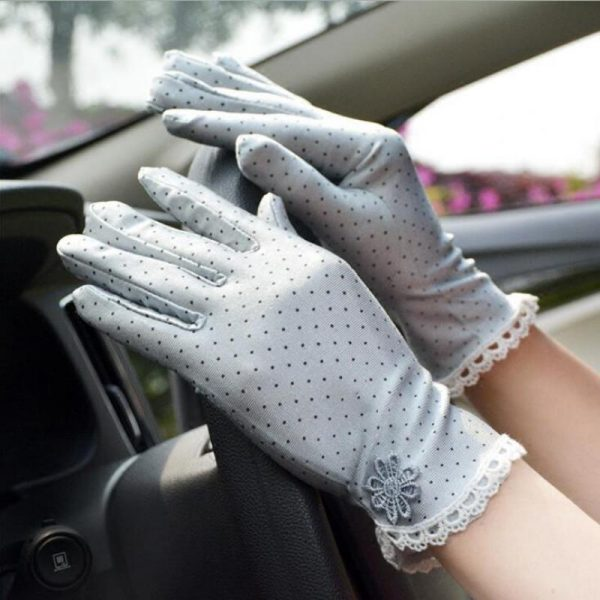 61101 n2pewj 600x600 - Women's Fashion Cotton Summer Gloves Lace Patchwork Gloves Anti-skid Sun Protection Driving Short Thin Gloves Dot Women Gloves