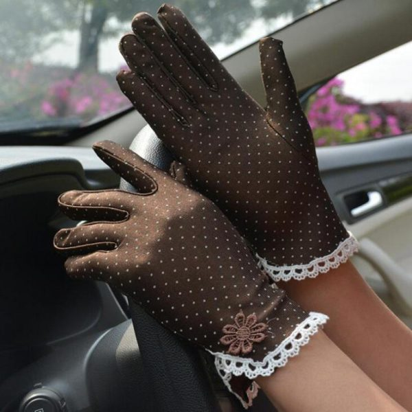 61101 nqblei 600x600 - Women's Fashion Cotton Summer Gloves Lace Patchwork Gloves Anti-skid Sun Protection Driving Short Thin Gloves Dot Women Gloves