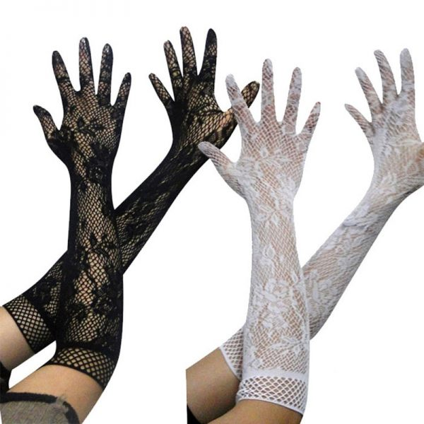 61102 caxsdp 600x600 - 1 Pair Black White Fashion Sexy Women Lace Stretchy Elbow Length Evening Party Gloves Summer Sunscreen Fishnet Long Gloves