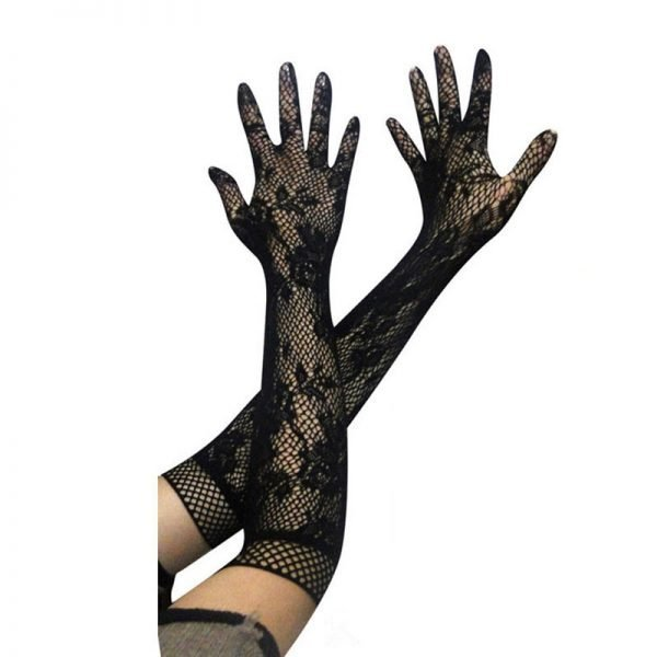61102 l3xpqx 600x600 - 1 Pair Black White Fashion Sexy Women Lace Stretchy Elbow Length Evening Party Gloves Summer Sunscreen Fishnet Long Gloves