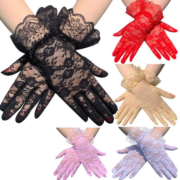 61103 ficl3h 600x600 - Black White Pink Skin Red Fashion Women Lady Lace Party Sexy Dressy Gloves Summer Full Finger Sunscreen Gloves for Girls Mittens