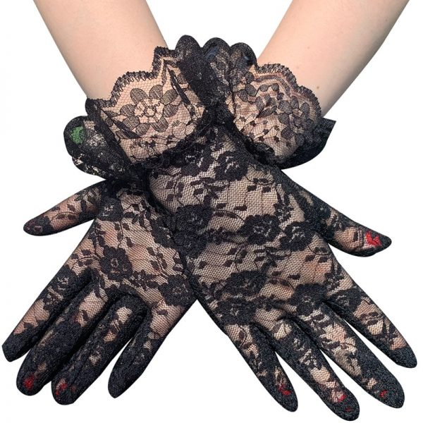 61103 ov33hx 600x600 - Black White Pink Skin Red Fashion Women Lady Lace Party Sexy Dressy Gloves Summer Full Finger Sunscreen Gloves for Girls Mittens