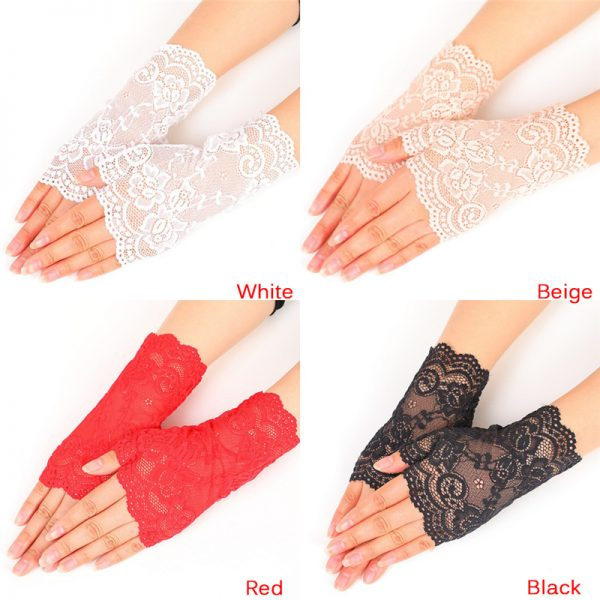 61236 dthlty 600x600 - Lady's Fingerless Black Floral Lace Gloves Summer Thin UV-Proof Driving Gloves Gothic Sexy Short Hollow White Red Party Gloves