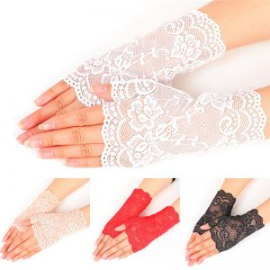 61236 rmygw5 300x300 - Lady's Fingerless Black Floral Lace Gloves Summer Thin UV-Proof Driving Gloves Gothic Sexy Short Hollow White Red Party Gloves
