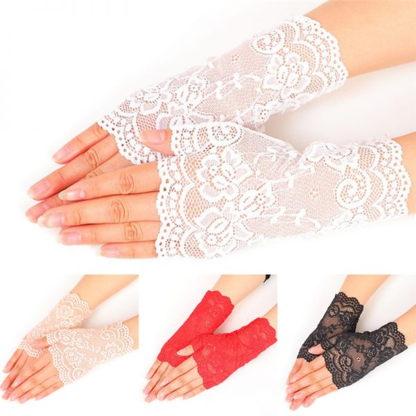 61236 rmygw5 600x600 - Lady's Fingerless Black Floral Lace Gloves Summer Thin UV-Proof Driving Gloves Gothic Sexy Short Hollow White Red Party Gloves