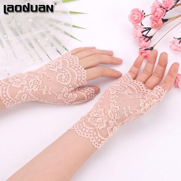 61275 unzlxn 600x600 - Spring And Summer Women'S Sunscreen Short Gloves Fashion Sexy Fingerless Lace Driving Gloves Spring And Summer Lace Glove