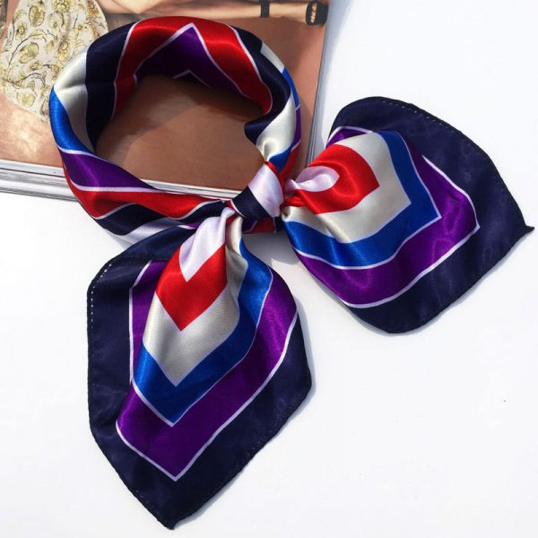 61477 kkm5se 600x600 - 2020 High Quality Silk Scarf Women 50*50CM Small Soft Squares Decorative Head Scarf Multicolor Stripe Print Kerchief Neck Wrap