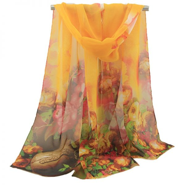 61958 otedm0 600x600 - 2019 New Fashion Womens Ladies Medium Long Chiffon Stole Scrawl Flower Printed Soft Scarf