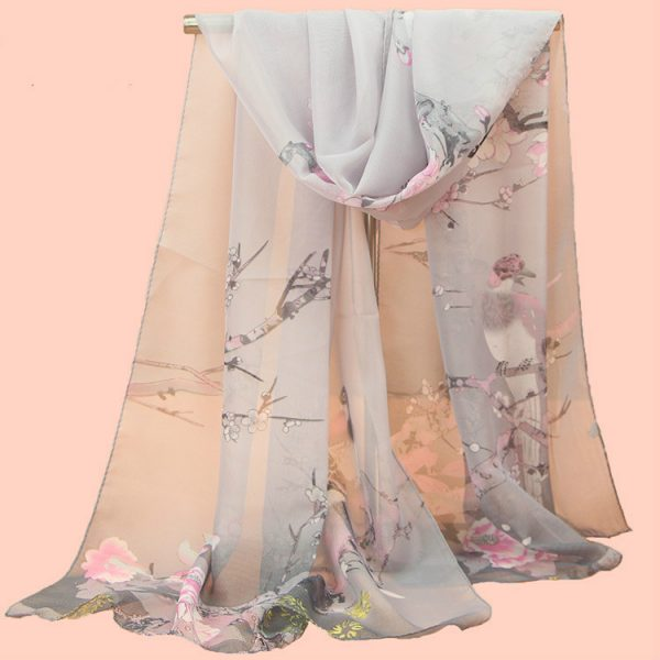 61958 pd7syp 600x600 - 2019 New Fashion Womens Ladies Medium Long Chiffon Stole Scrawl Flower Printed Soft Scarf