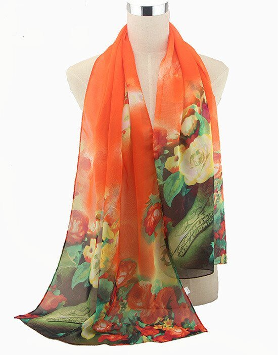 61958 svi47t - 2019 New Fashion Womens Ladies Medium Long Chiffon Stole Scrawl Flower Printed Soft Scarf