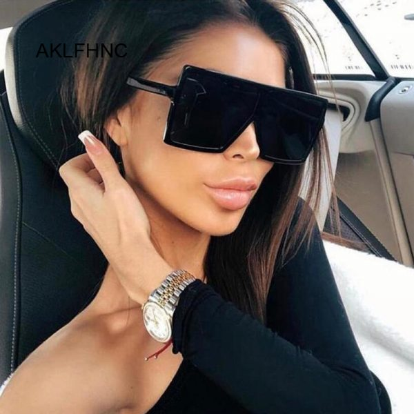63289 0jslgx 600x600 - Flat Top Oversize Square Sunglasses Women Fashion Retro Gradient Sun Glasses Leopard Big Frame Vintage Eyewear UV400