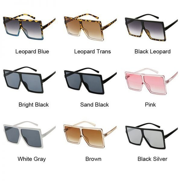 63289 5obh4b 600x600 - Flat Top Oversize Square Sunglasses Women Fashion Retro Gradient Sun Glasses Leopard Big Frame Vintage Eyewear UV400