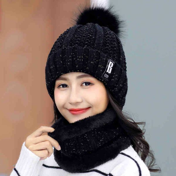 63553 ccurwd 600x600 - Brand Winter knitted Beanies Hats Women Thick Warm Beanie Skullies Hat Female knit Letter Bonnet Beanie Caps Outdoor Riding Sets