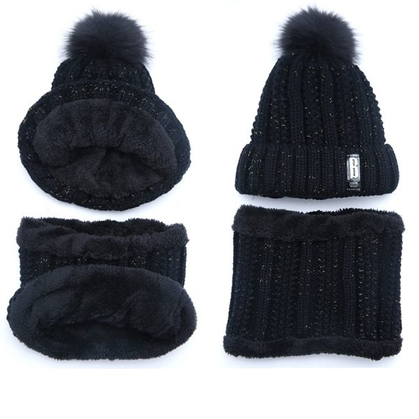 63553 nc8cpy 600x600 - Brand Winter knitted Beanies Hats Women Thick Warm Beanie Skullies Hat Female knit Letter Bonnet Beanie Caps Outdoor Riding Sets