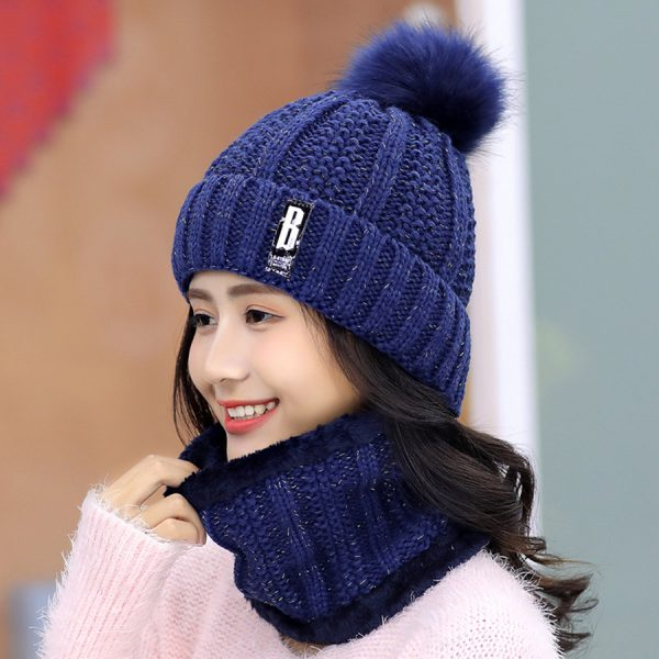 63553 pdg4xc 600x600 - Brand Winter knitted Beanies Hats Women Thick Warm Beanie Skullies Hat Female knit Letter Bonnet Beanie Caps Outdoor Riding Sets