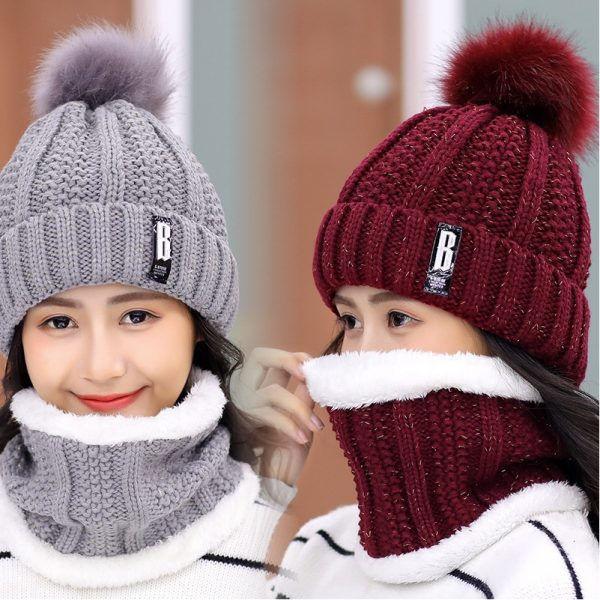63553 wlwham 600x600 - Brand Winter knitted Beanies Hats Women Thick Warm Beanie Skullies Hat Female knit Letter Bonnet Beanie Caps Outdoor Riding Sets
