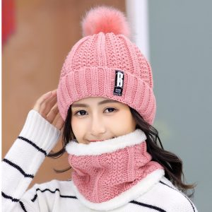 63553 zaul47 300x300 - Brand Winter knitted Beanies Hats Women Thick Warm Beanie Skullies Hat Female knit Letter Bonnet Beanie Caps Outdoor Riding Sets