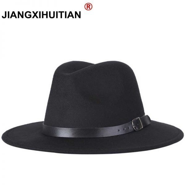 63634 c7wqqh 600x600 - free shipping 2020 new Fashion men fedoras women's fashion jazz hat summer spring black woolen blend cap outdoor casual hat X XL