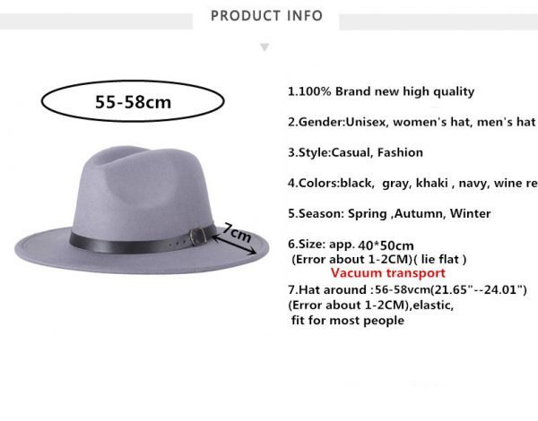 63634 tgrcv3 600x470 - free shipping 2020 new Fashion men fedoras women's fashion jazz hat summer spring black woolen blend cap outdoor casual hat X XL