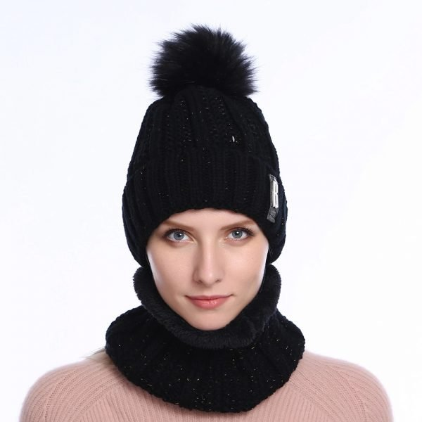 63905 9r89rg 600x600 - 2019 New Cute Pom Poms Winter Hat For Women Fashion Solid Warm Hats Knitted Beanies Cap Brand Thick Female Cap Bib