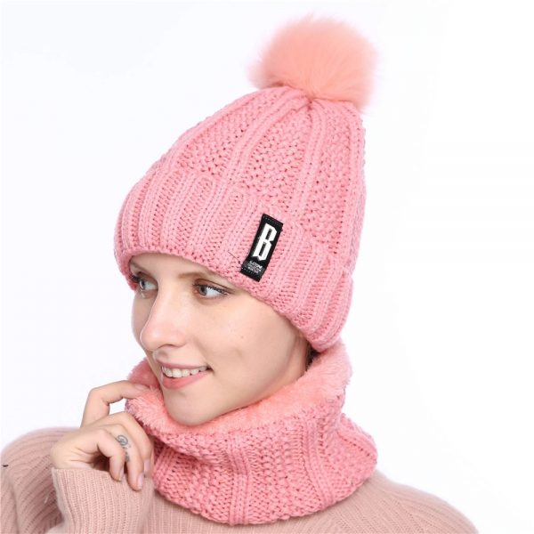 63905 inn7mr 600x600 - 2019 New Cute Pom Poms Winter Hat For Women Fashion Solid Warm Hats Knitted Beanies Cap Brand Thick Female Cap Bib