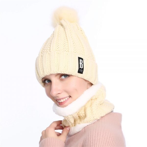 63905 rmrhfk 600x600 - 2019 New Cute Pom Poms Winter Hat For Women Fashion Solid Warm Hats Knitted Beanies Cap Brand Thick Female Cap Bib
