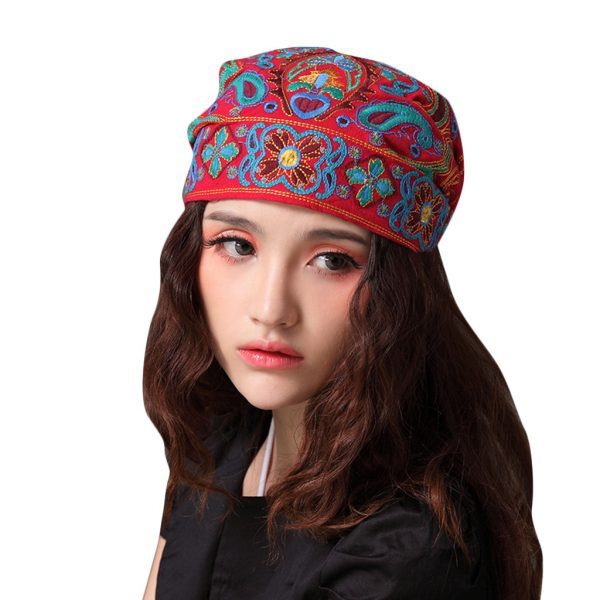 63983 kznvsb 600x600 - Mexican Style Spring Autumn Ethnic Vintage Embroidery Flowers Bandanas Red Blue Print Hat Travel Caps Headscarves #R5