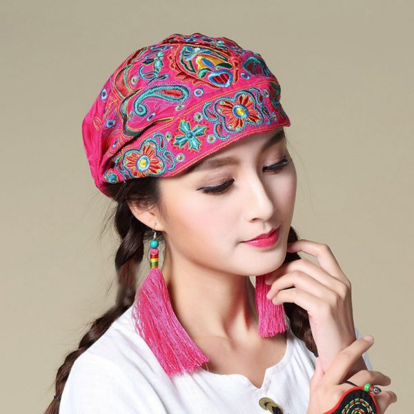 63983 owkdqk 600x600 - Mexican Style Spring Autumn Ethnic Vintage Embroidery Flowers Bandanas Red Blue Print Hat Travel Caps Headscarves #R5