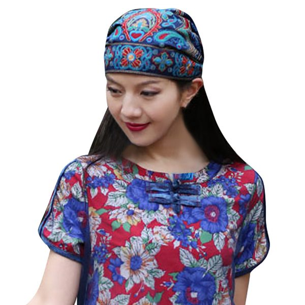 63983 t0q3fy 600x600 - Mexican Style Spring Autumn Ethnic Vintage Embroidery Flowers Bandanas Red Blue Print Hat Travel Caps Headscarves #R5