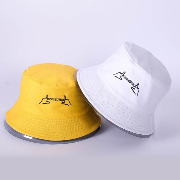 63986 xcitoc 600x600 - 2018 New Korean double-sided wear creative embroidered fisherman hat Casual fashion visor cap men and women Bucket hat caps