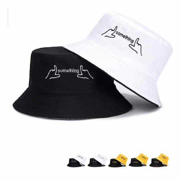 63994 1yovms 600x600 - 2019 Casual Cute Sun Hat Chinese Letter Strawberry Embroidery Bucket Hat Men Women Hip Hop Caps Summer Fold Both Sided Beach Hat