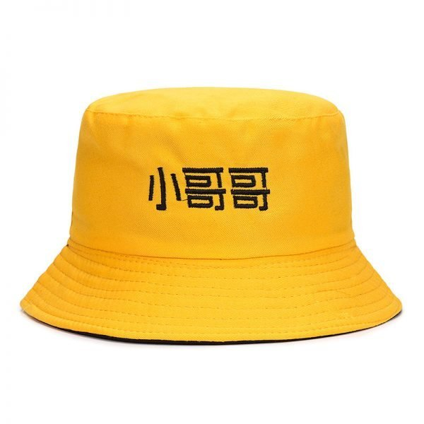 63994 5hz0nj 600x600 - 2019 Casual Cute Sun Hat Chinese Letter Strawberry Embroidery Bucket Hat Men Women Hip Hop Caps Summer Fold Both Sided Beach Hat