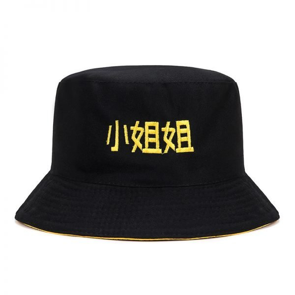 63994 iprekf 600x600 - 2019 Casual Cute Sun Hat Chinese Letter Strawberry Embroidery Bucket Hat Men Women Hip Hop Caps Summer Fold Both Sided Beach Hat