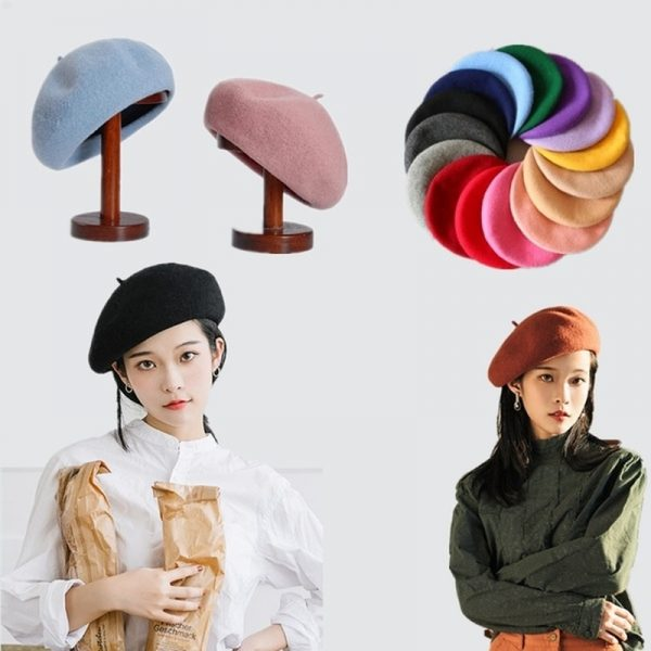 64017 dh2ajg 600x600 - French Style Solid Casual Vintage Women's Hat Beret Plain Cap Girl's Wool Warm Winter Berets Beanie Hats Femme Aldult Caps