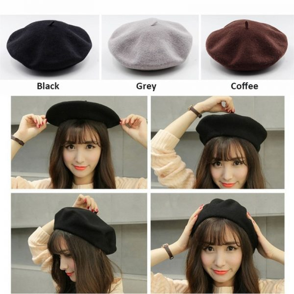 64017 rfjr2o 600x600 - French Style Solid Casual Vintage Women's Hat Beret Plain Cap Girl's Wool Warm Winter Berets Beanie Hats Femme Aldult Caps