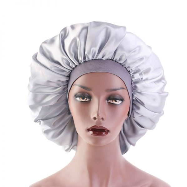 64055 ebmtyy 600x600 - Wholesale Hair Accessories Extra Large Print Satin Silky Bonnet Sleep Cap with Premium Elastic Band for Women Solid Head Wrap