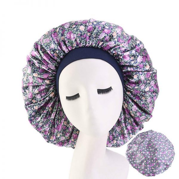 64055 ed5tbn 600x600 - Wholesale Hair Accessories Extra Large Print Satin Silky Bonnet Sleep Cap with Premium Elastic Band for Women Solid Head Wrap