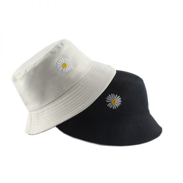 64070 4rhc18 600x600 - Summer Daisies Embroidery Bucket Hat Women Cotton Fashion Sun Cap Girls Reversible daisy Bob Sun Femme Floral Panama Hat