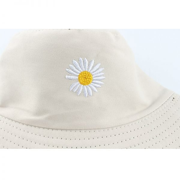 64070 bndjpp 600x600 - Summer Daisies Embroidery Bucket Hat Women Cotton Fashion Sun Cap Girls Reversible daisy Bob Sun Femme Floral Panama Hat