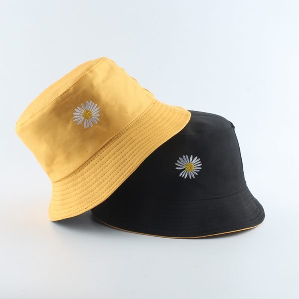 64070 p3jj6q 600x600 - Summer Daisies Embroidery Bucket Hat Women Cotton Fashion Sun Cap Girls Reversible daisy Bob Sun Femme Floral Panama Hat